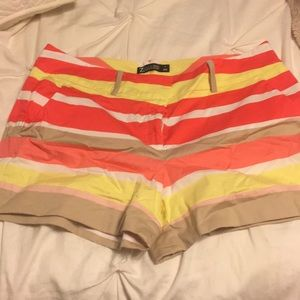Pink, Yellow, White and Tan Stripe Shorts